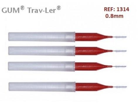 Gum Cepillo Interdental Trav-ler 1314. 0.8mm Cónico 4 unidades.