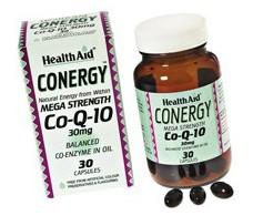 Conergy Health Aid 30 capsules. Coenzyme Q10. HealthAid