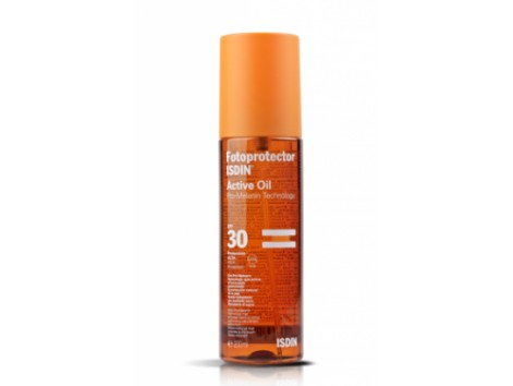 Isdin Sunscreen and suntan lotion SPF 30 Active Oil 200 ml.