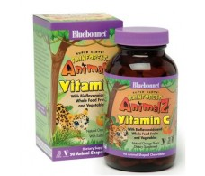 Bluebonnet Super Earth Vitamin C 90 chewable tablets Rainforest Animalz
