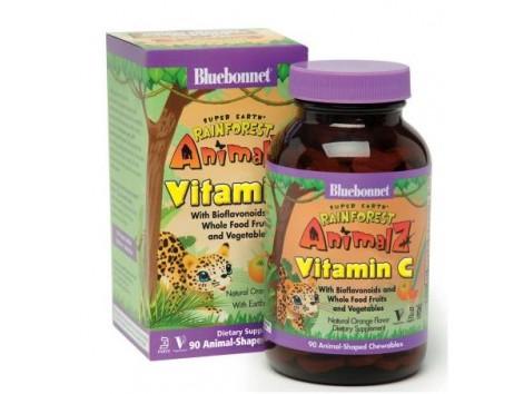 Bluebonnet Super Earth Vitamin C 90 chewable tablets Rainforest Animalz