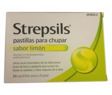 Lemon Strepsils lozenges 24 (sugar)