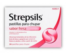 Strawberries Strepsils lozenges 24 (sugar)