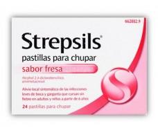 Strepsils Fresas 24 pastillas para chupar (sin azúcar)