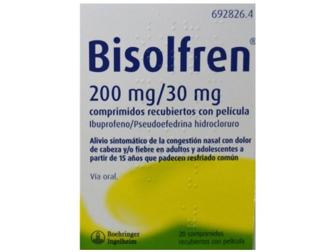 Bisolfren 200 mg / 30 mg 20 coated tablets