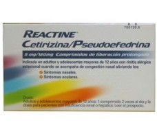 Reactine Cetirizina/Pseudoefedrina 5 mg / 120 mg 14 comprimidos de liberación prolongada