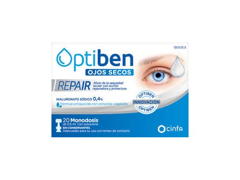 OPTIBEN Ojos Secos. REPAIR 20 monodosis