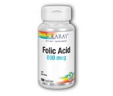Solaray Acido Folico 800mg. - Folic Acid Solaray. 100 capsulas