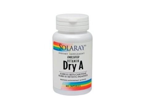 Emulsied Solaray Dry Vitamin A 25,000 IU 60 pearls.