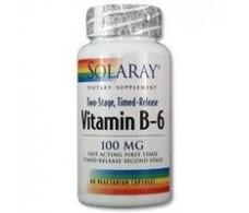 Solaray Vitamin B6 50mg. 60 capsules delayed action