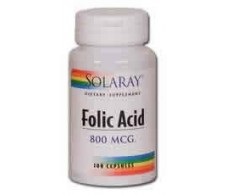 Solaray Acido Folico 800mg. - Folic Acid Solaray. 100 capsulas