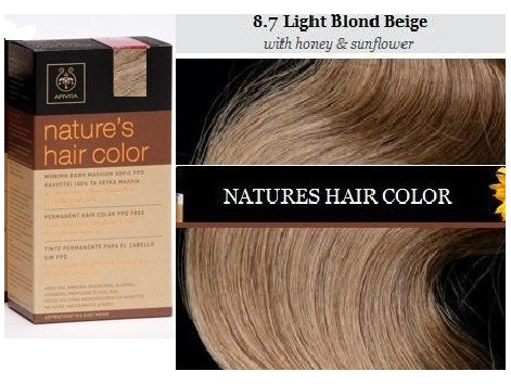 Nature s Apivita Hair Color Light Blonde Beige 8.7 - FARMACIA ... f279b05045c