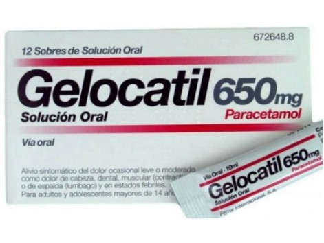 Gelocatil 650mg 12 sachets oral solution