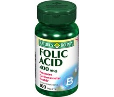Nature's Bounty 400mg folic acid. 100 tablets